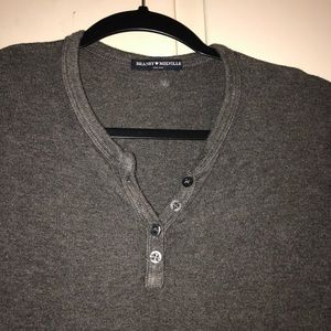Grey Long sleeve brandy Melville top, with buttons